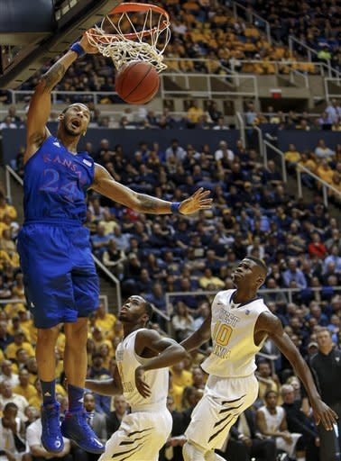 No. 2 Kansas outlasts West Virginia 61-56