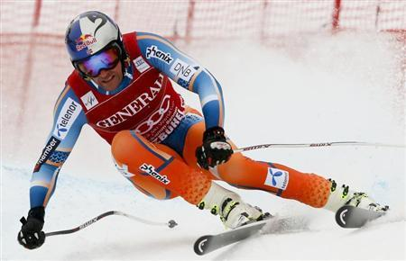 Svindal of Norway speeds down the famous Streif course during the men's Super G of the FIS Alpine Skiing World Cup at the Hahnenkamm mountain of the Austrian alpine skiing resort Kitzbuehel