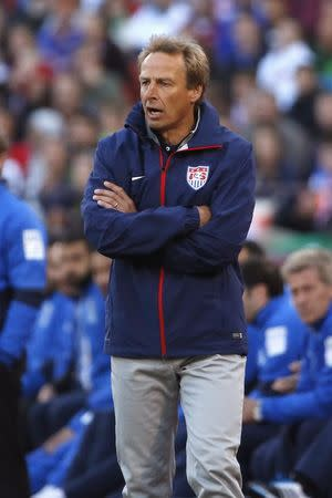 U.S. head coach Juergen Klinsmann reacts at the sideline during an international friendly soccer match against Azerbaijan in San Francisco