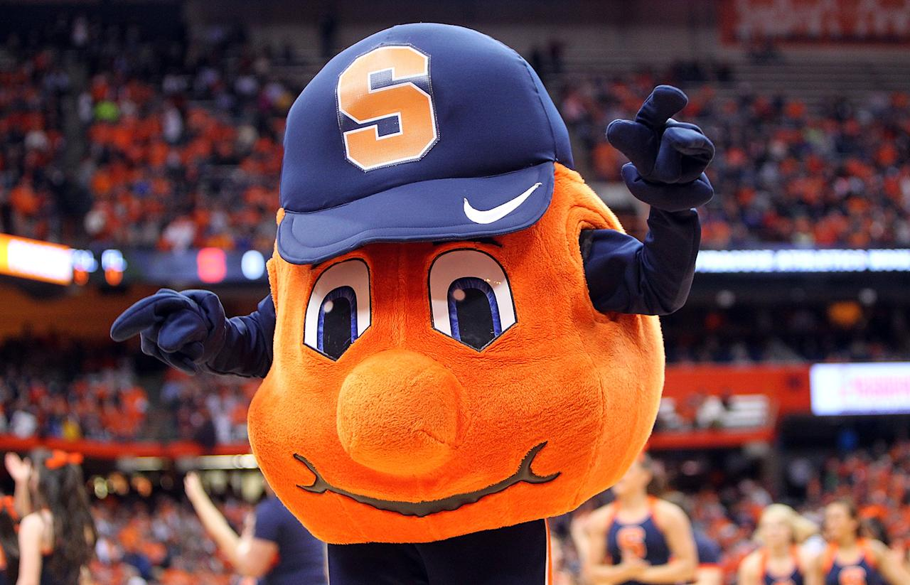 Otto, the mascot of the Syracuse Orange dances on the court during a break in play in the game against the Providence Friars at the Carrier Dome on February 20, 2013 in Syracuse, New York. (Photo by Nate Shron/Getty Images)