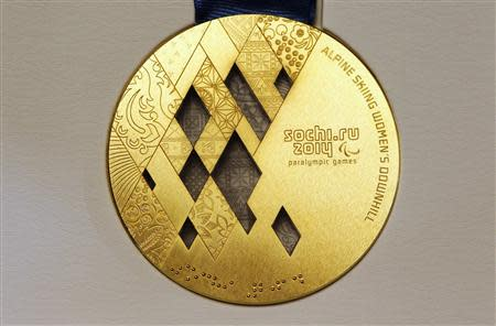 File photo of the gold medal for the 2014 Winter Paralympic Games in Sochi, in the alpine skiing women's downhill category, on display in St. Petersburg