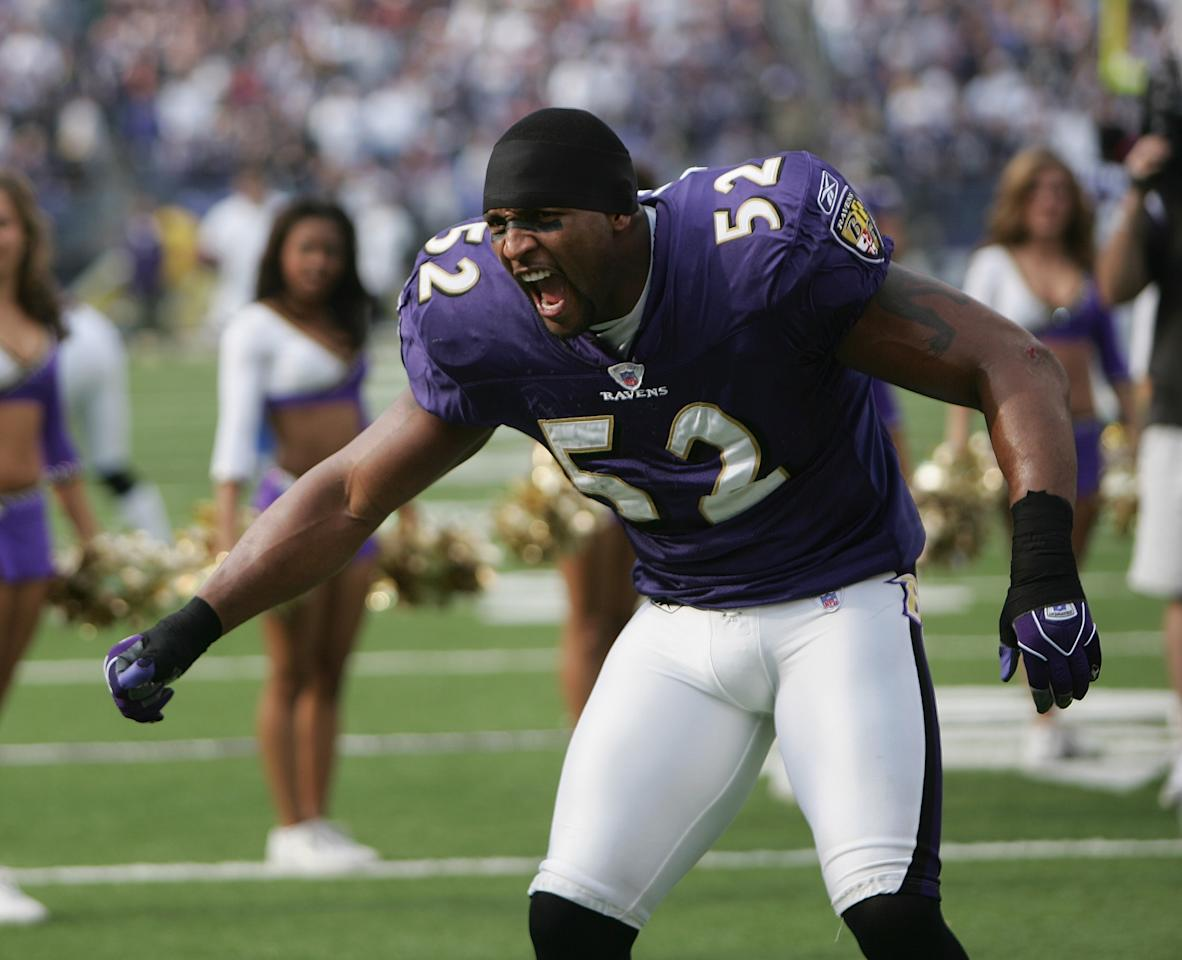 BALTIMORE - NOVEMBER 21: Linebacker Ray Lewis #52 of the Baltimore Ravens looks on before facing the Dallas Cowboys during the game at M&T Bank Stadium on November 21, 2004 in Baltimore, Maryland. The Ravens defeated the Cowboys 30-10. (Photo by Doug Pensinger/Getty Images)