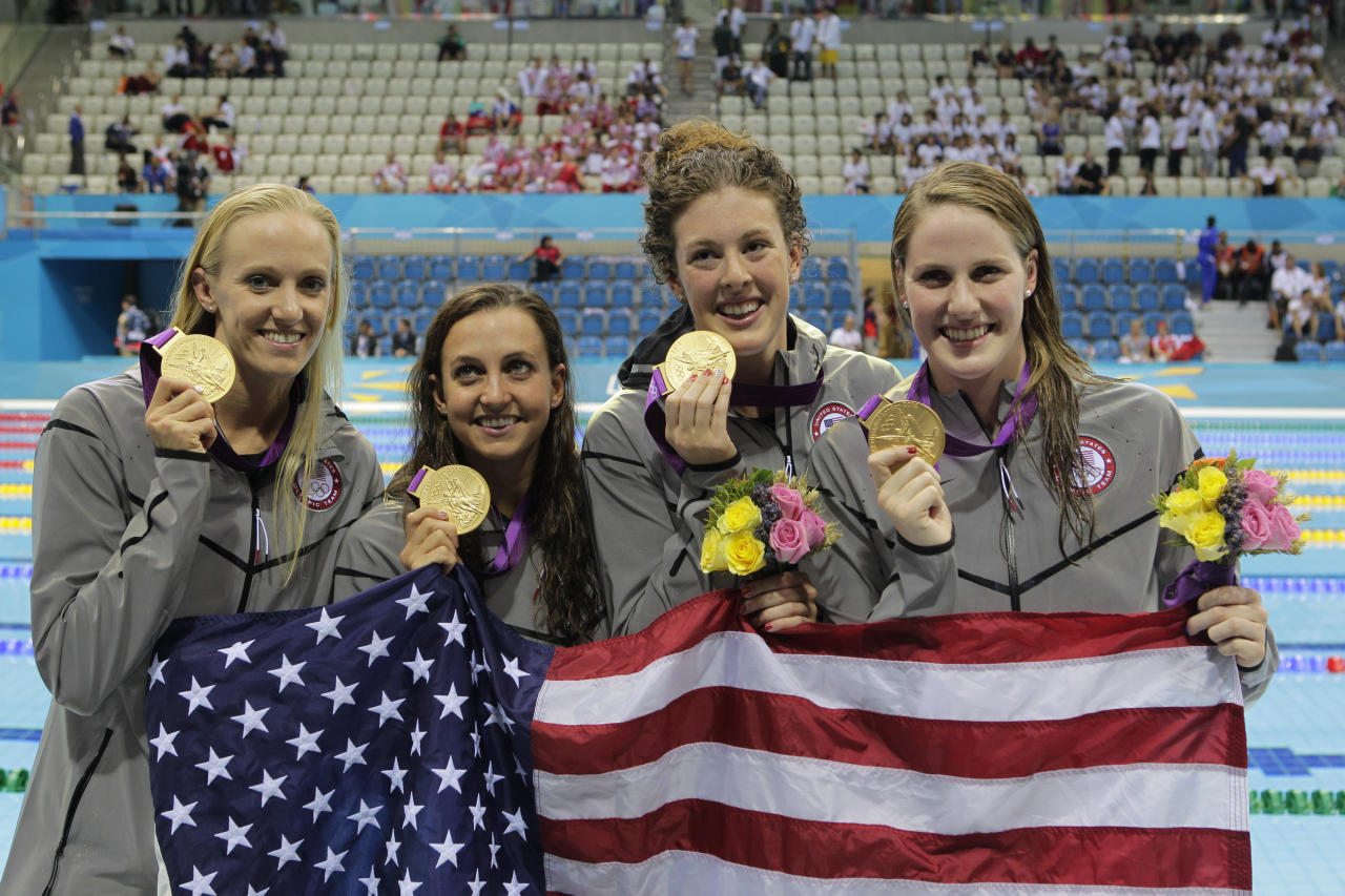 2012 SUMMER OLYMPICS -- Swimming Finals -- Pictured: (l-r) Dana Vollmer, Rebecca Soni, Allison Schmitt, Missy Franklin -- (Photo by: Paul Drinkwater/NBC)