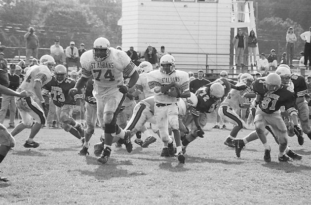 St. Albans RB Phil Perry had the right idea here: Run behind the man-mountain — Flickr/StAlbansSchool