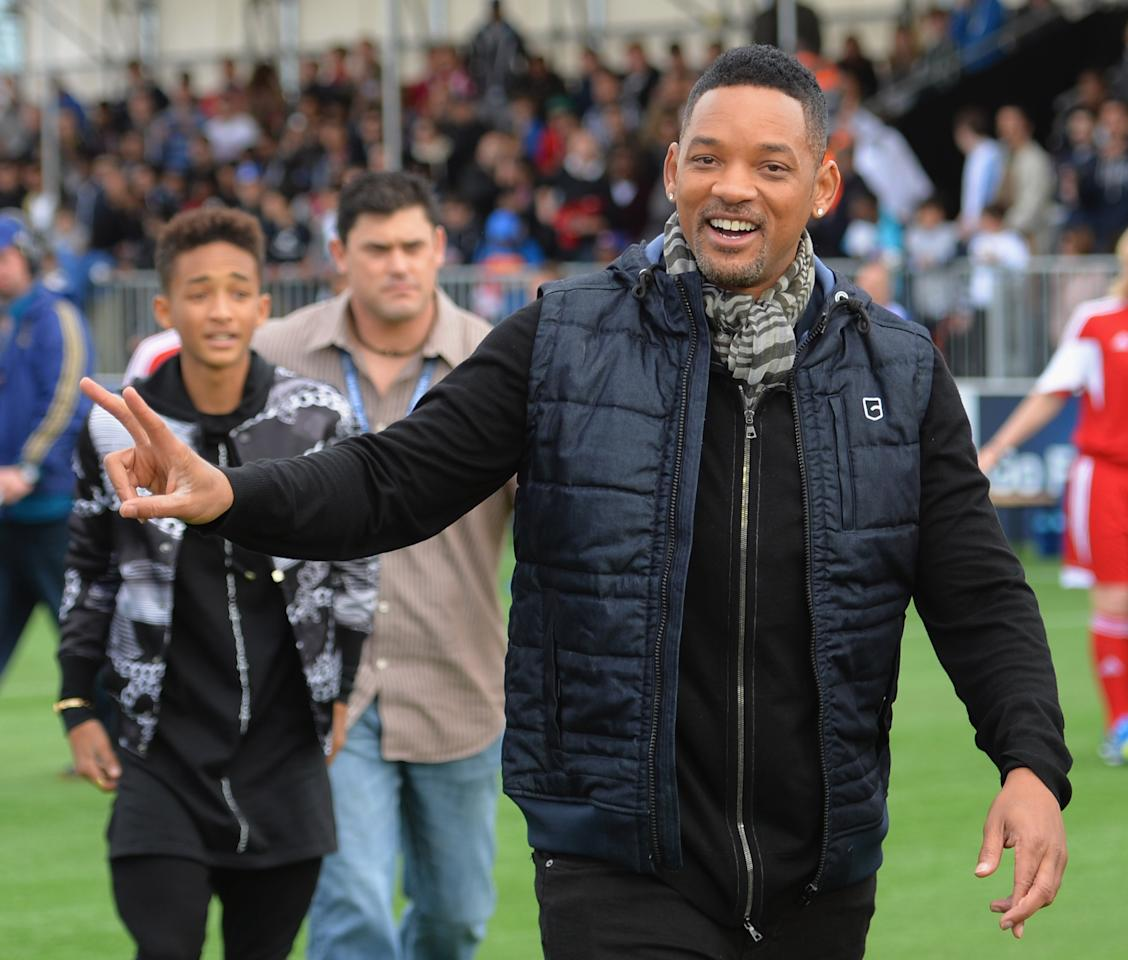 LONDON, ENGLAND - MAY 25:  Will and Jaden Smith attend UEFA's Champions Festival which comes to London to coincide with Wembley hosting the Champions League final at Queen Elizabeth Olympic Park on May 25, 2013 in London, England.  (Photo by Shaun Botterill/Getty Images)