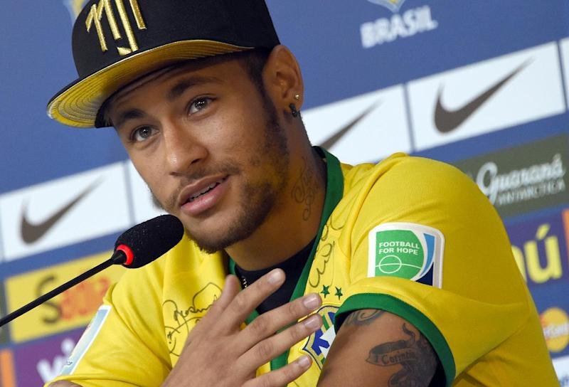 Injured Brazil forward Neymar pictured during a press conference in Teresopolis, Near Rio de Janeiro on July 10, 2014