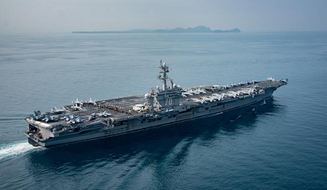 Allies silent over 'show of force' by U.S.  carrier