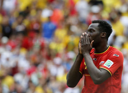 Belgium's Romelu Lukaku reacts after missing to a chance to score during their 2014 World Cup Group H soccer match at the Maracana stadium in Rio de Janeiro