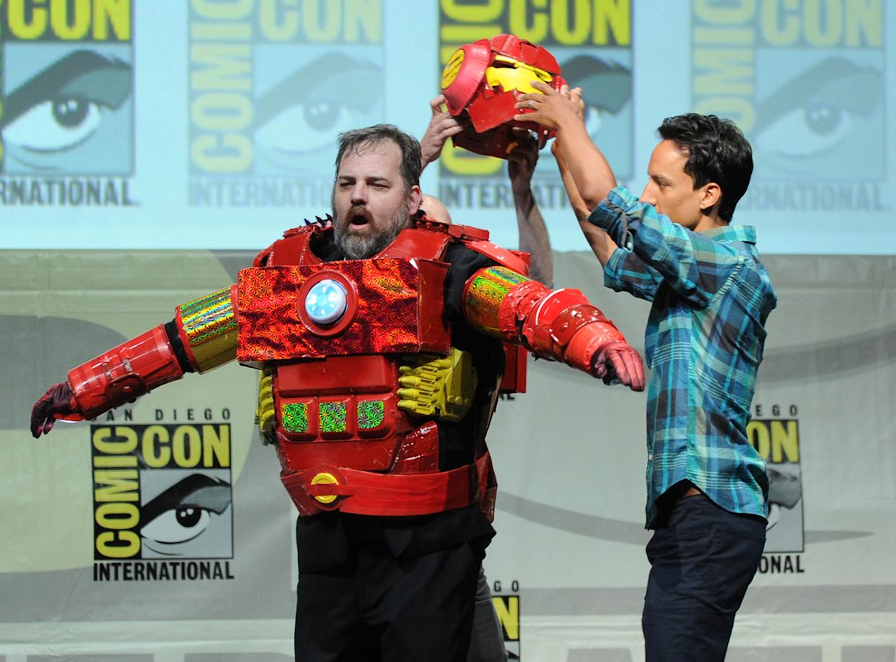 """SAN DIEGO, CA - JULY 21: Writer Dan Harmon (L) and actor Danny Pudi speak onstage at the """"Community"""" celebrating the fans during Comic-Con International 2013 at San Diego Convention Center on July 21, 2013 in San Diego, California. (Photo by Kevin Winter/Getty Images)"""