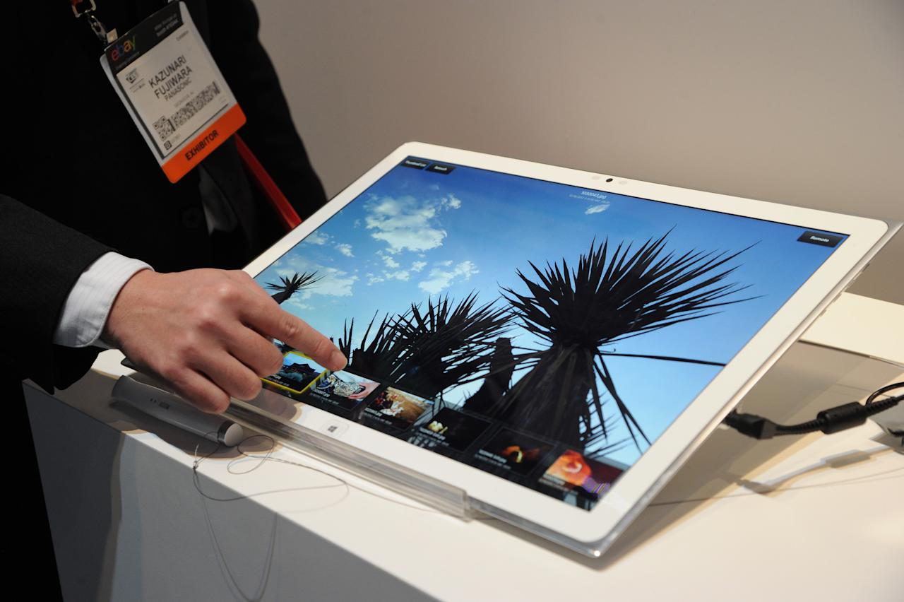 """The New 20"""" 4k Tablet at The 2013 International CES, on Tuesday, January 8, 2013, Las Vegas, NV displayed in the Panasonic Booth (Photo by Al Powers/Invision for Panasonic/AP Images)"""