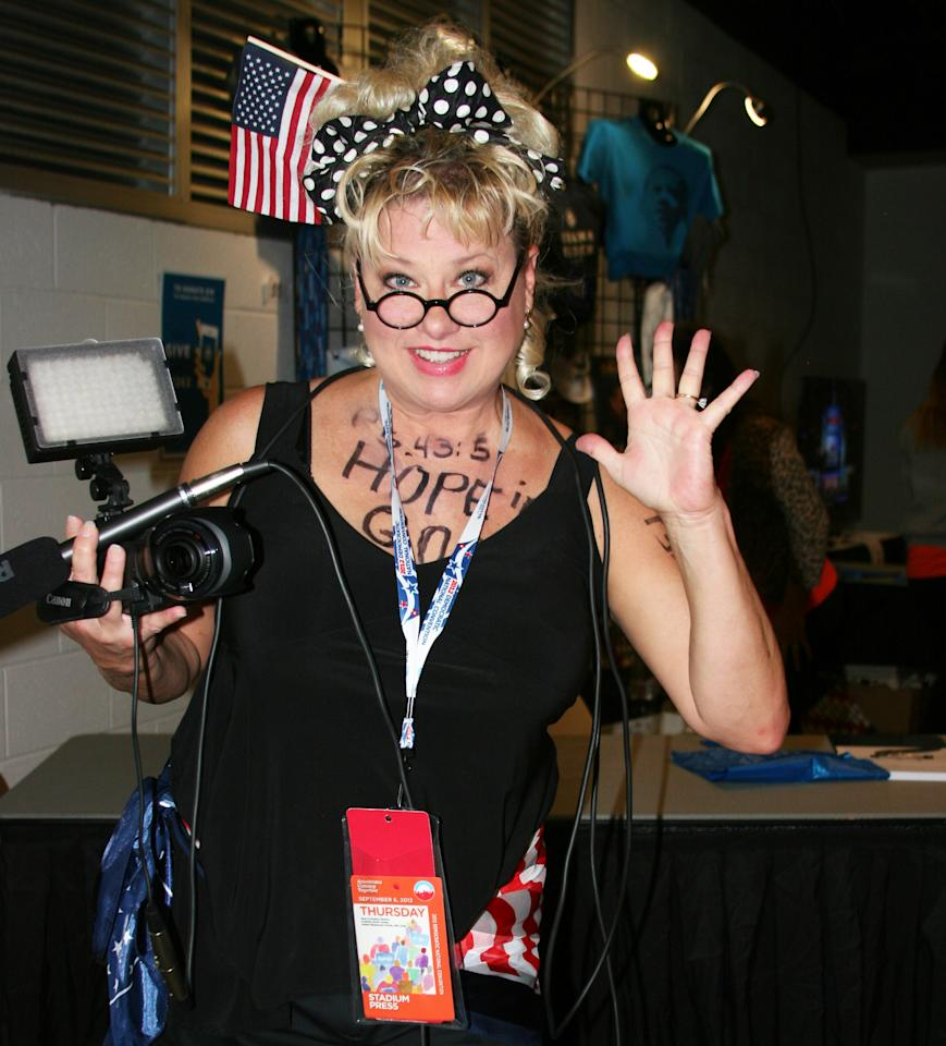 """Comedian, satirist and former Saturday Night Live actress Victoria Jackson says, """"I'm trying to jazz up politics -- it's so boring!"""" She hosts the radio program called the Victoria Jackson Show. Jackson posed for a photo just outside the arena floor at the  Democratic National Convention on Thursday Sept. 6, 2012. (Torrey AndersonSchoepe/Yahoo! News)"""