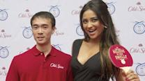 Shay Mitchell 'gets served' at Old Spice event