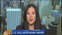 US dollar roars higher