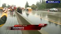 Big rig crash blocks lanes on I-5 during wet commute