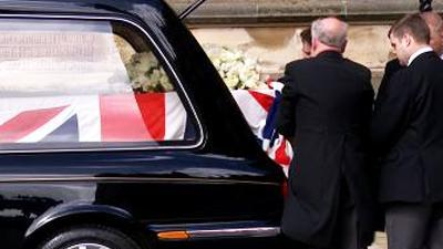 Raw: Margaret Thatcher's Coffin Moved