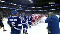 Red Wings and Lightning shake hands