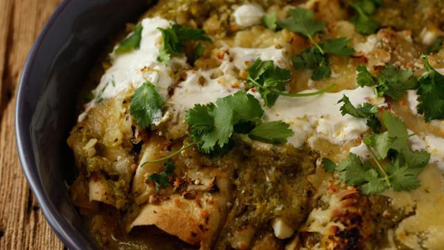 Learn How to Make Guy Fieri's Turkey Enchiladas with Fire-Roasted Tomatillos