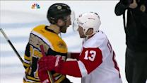 Red Wings and Bruins handshake