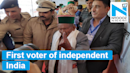 First voter of independent India Shyam Saran Negi casts his vote