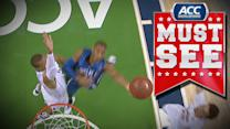 Virginia's Akil Mitchell Skies for Block on Rasheed Sulaimon | ACC Must See Moment