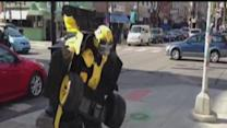 Man shows off Transformer costume in Ann Arbor
