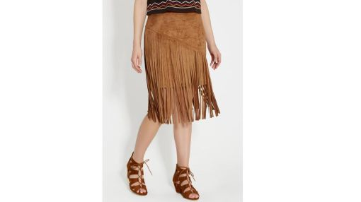 maurices Faux Suede Skirt With Fringe $30