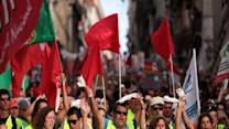 Raw: Anti-Austerity rally in Portugal