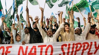 Raw Video: Pakistanis protest NATO supply route