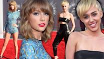 Taylor Swift & Miley Cyrus Battle of Blondes - VMA Red Carpet Style 2014