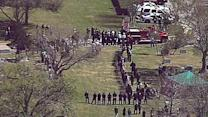 Aerials of League City firefighter funeral procession