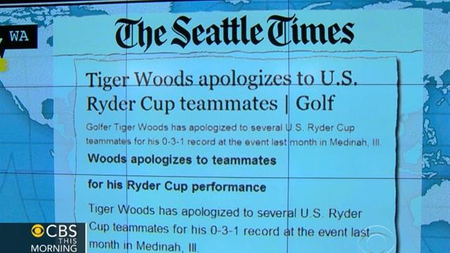 Headlines: Tiger Woods apologizes to teammates