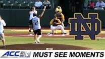 Notre Dame's Mike Brey Throws Out Silver Hawks First Pitch | ACC Must See Moment