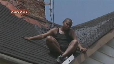 Man On Roofing Job Gets Stuck To House