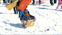 Creative Sledding & Snowmen At Flag Pole Hill