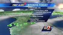Heavy downpours, lightning expected tonight