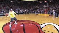 Michael Drysch Sinks Half Court Basket, Lebron James Helps Him Celebrate