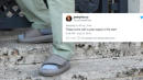 Twitter Roasts Kanye West For Wearing Super Small Yeezy Slides