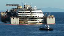 Costa Concordia cruise ship moved from tragic crash site