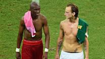Croatia and Cameroon players trade shorts after match