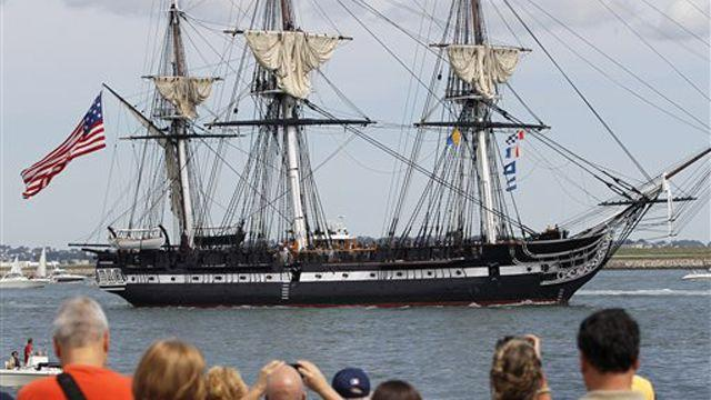 USS Constitution sets sail on historic cruise outside Boston
