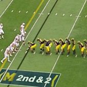 Michigan lined up in a 10-man centipede formation to throw off Wisconsin