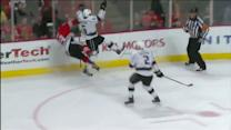 Jake Muzzin lays heavy hit on Jonathan Toews