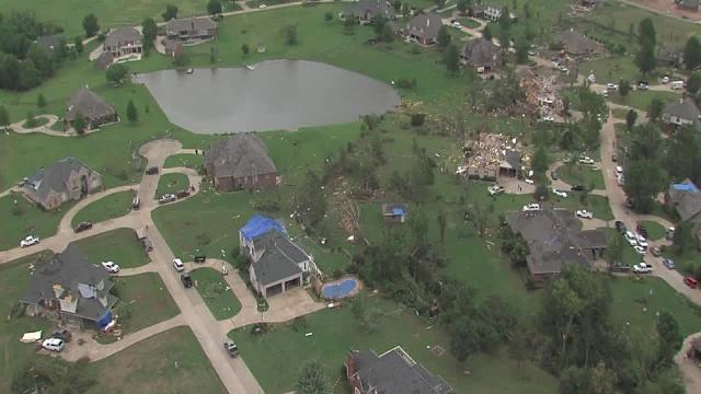 BA tornado damage from the sky