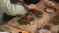 Chef Diane Henderiks Makes 5 Layer Hummus and Seitan Dip Bites