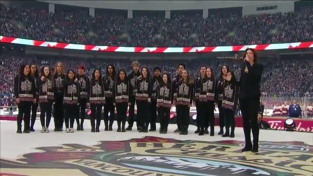 Sarah McLachlan sings the National Anthem