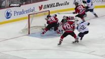 Volchenkov stops Roy's shot with his backside