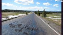 Boiling Water Melts Road In Yellowstone