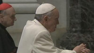Raw: Pope Francis Prays at John Paul II's Tomb
