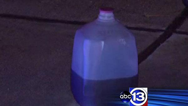 Suspicious liquids found inside burning home