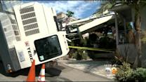 Crane Topples Onto House In Laguna Beach
